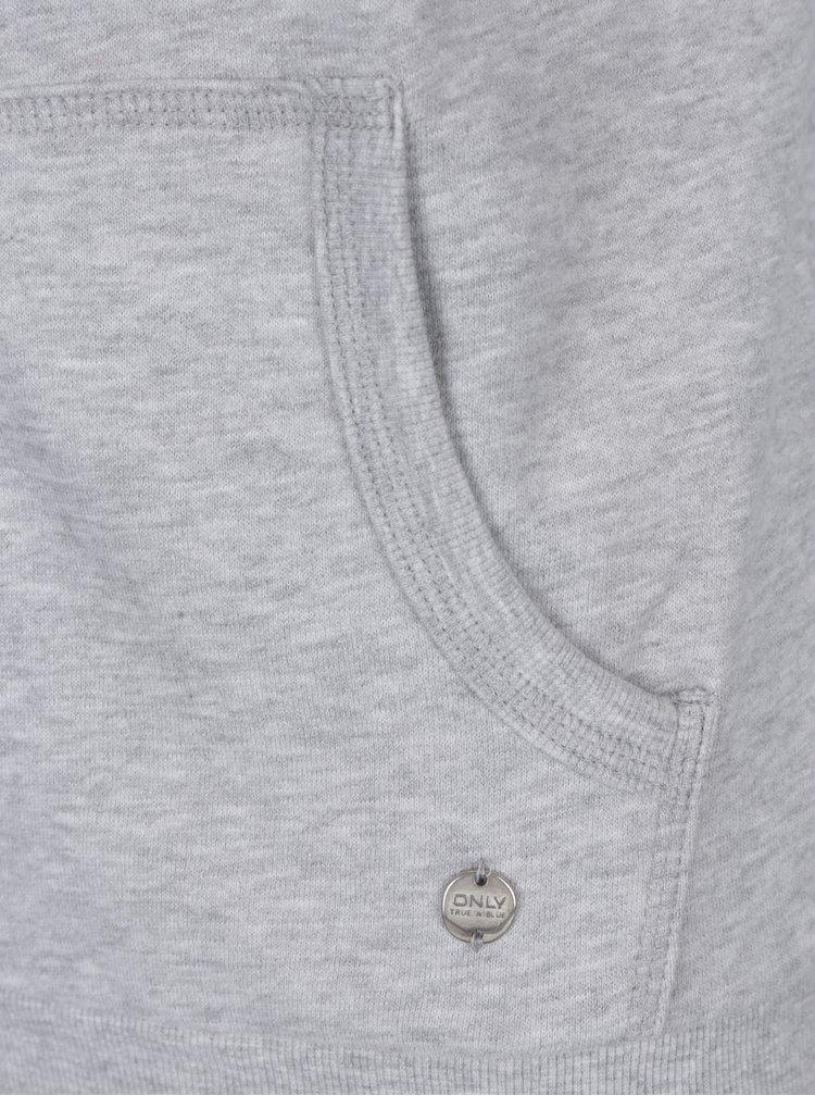 Světle šedá žíhaná mikina na zip ONLY Coolie