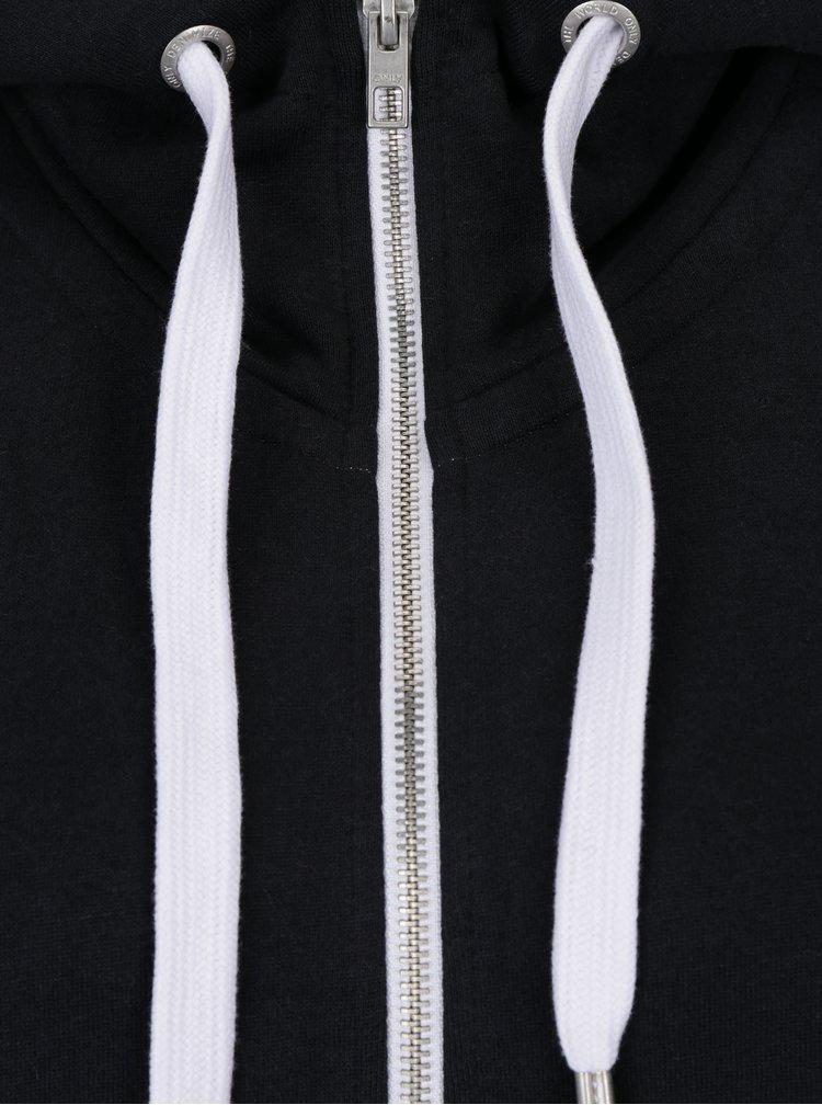 Černá mikina na zip ONLY Coolie
