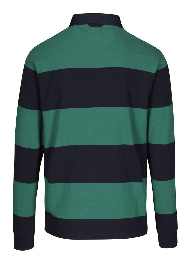 Zeleno-modré pruhované polo tričko s dlouhým rukávem GANT Original