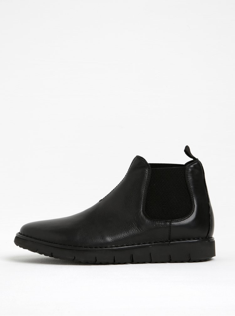 Černé pánské kožené chelsea boty Geox Pluges B