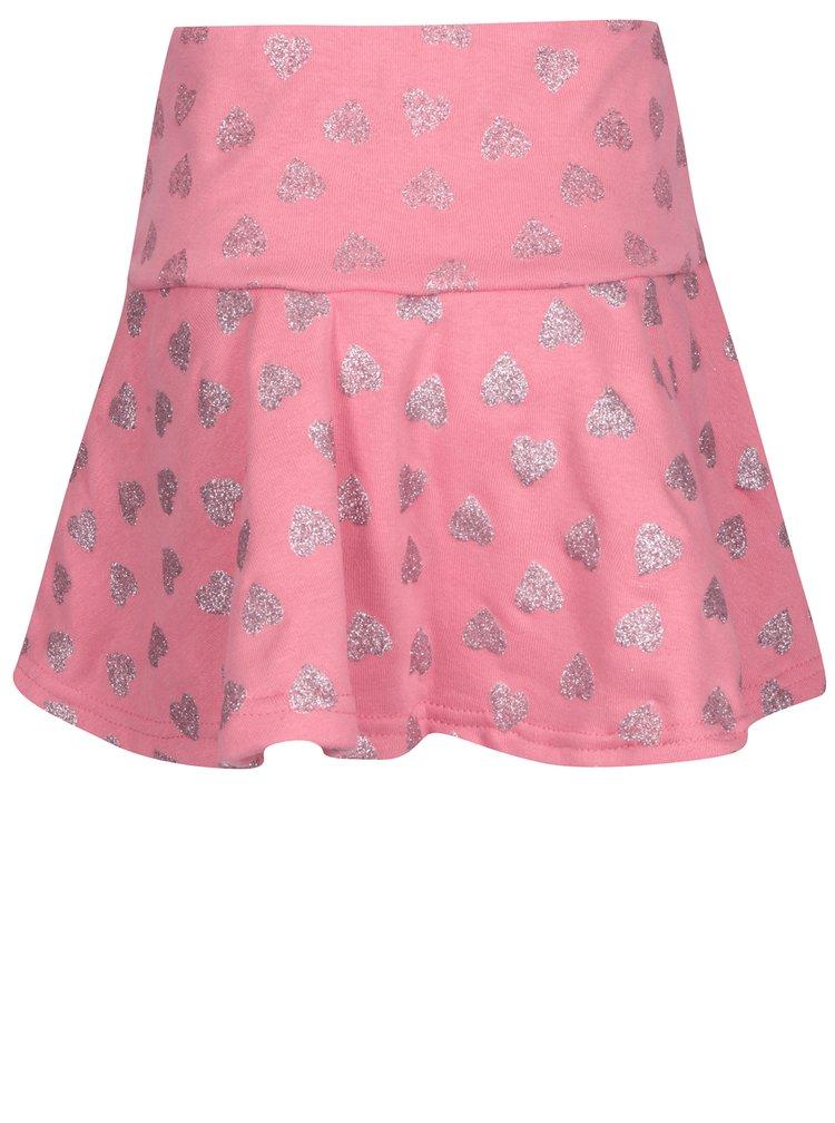 Růžová holčičí sukně s motivem srdcí 5.10.15.