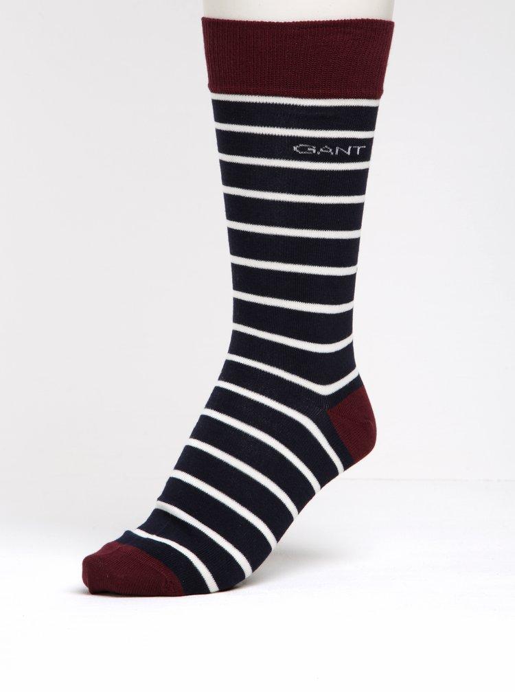 Sada tří párů vínovo-modrých pánských vzorovaných ponožek GANT
