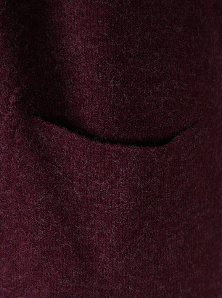 Vínový žíhaný cardigan s kapsami VERO MODA Brilliant