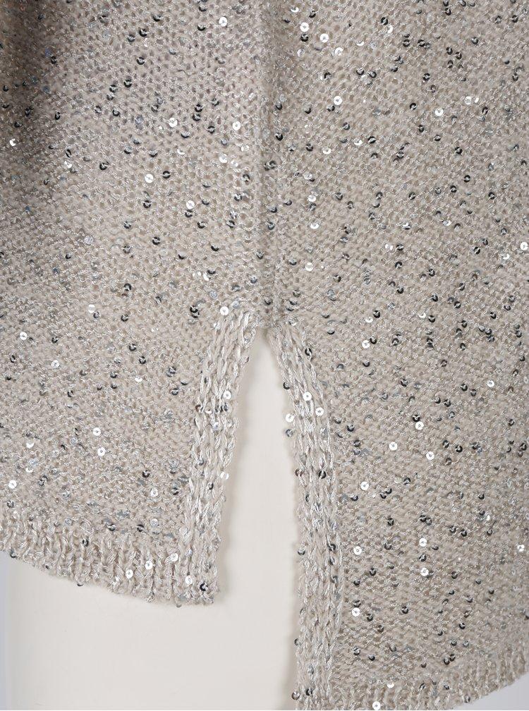 Béžový pletený svetr s flitry ONLY Adele