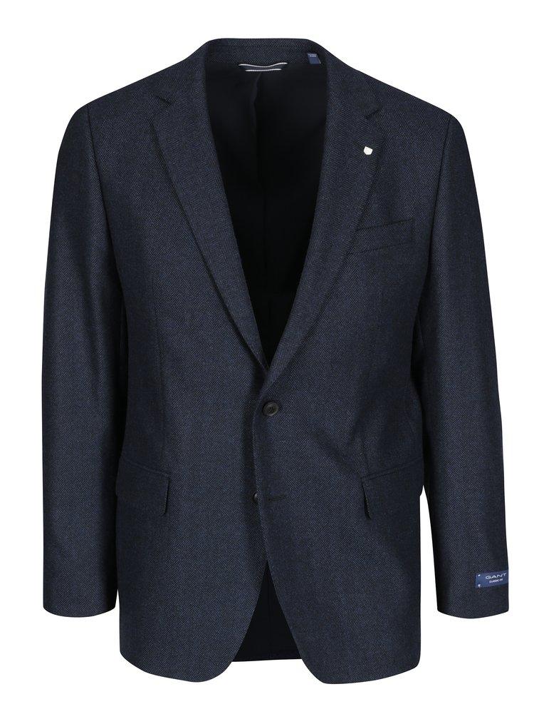 Tmavě modré pánské vlněné sako GANT