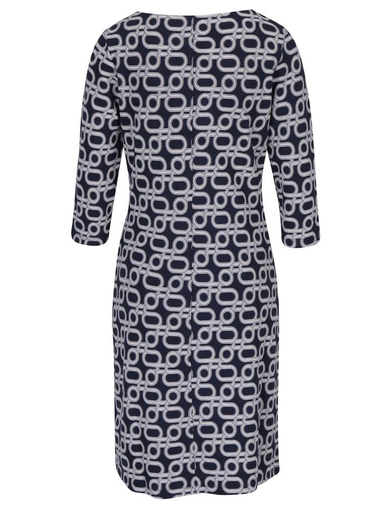 Tmavě modré vzorované šaty s 3/4 rukávy GANT