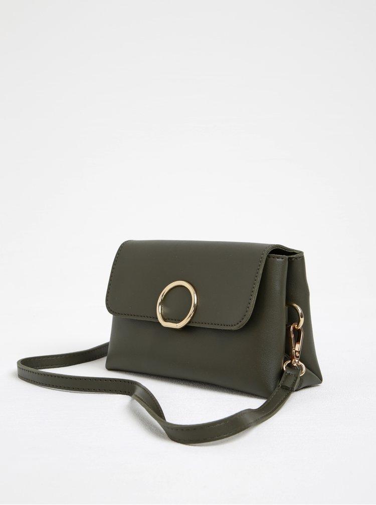 Kaki crossbody kabelka s detailmi v zlatej farbe ONLY Kamma