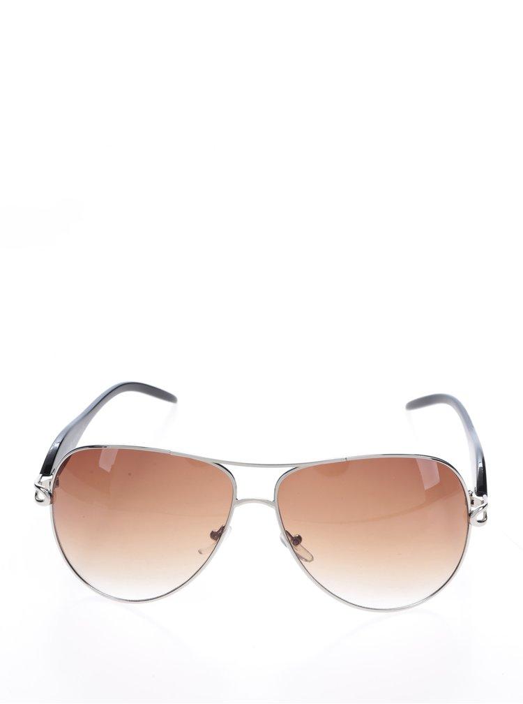 Hnědé sluneční brýle s obroučkami v černé barvě Haily's Ibiza