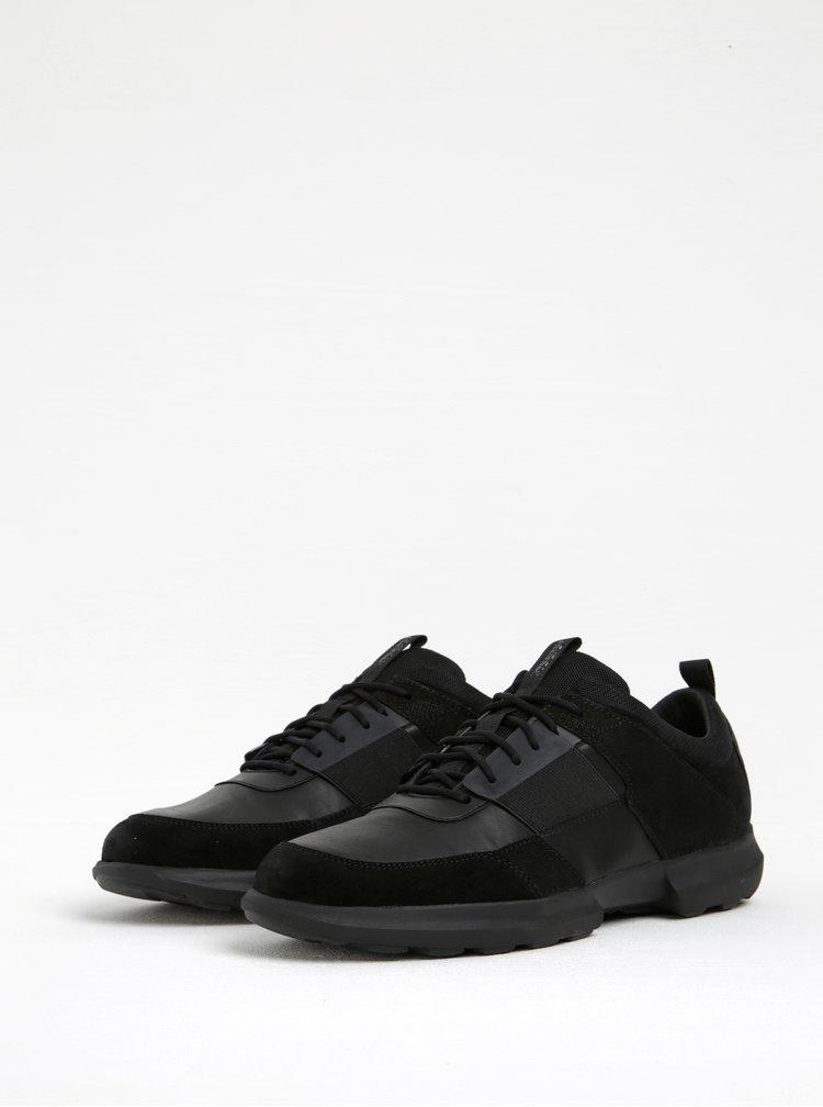 Pantofi sport negri cu aplicatie elastica Geox Traccia B