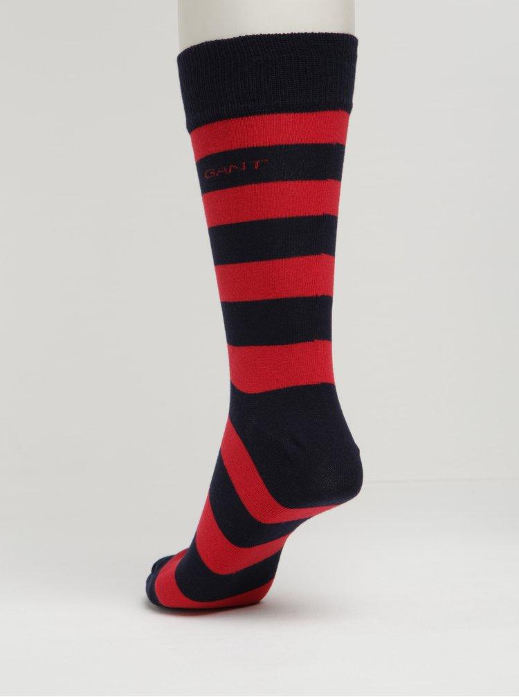 Červeno-modré pánské pruhované ponožky GANT