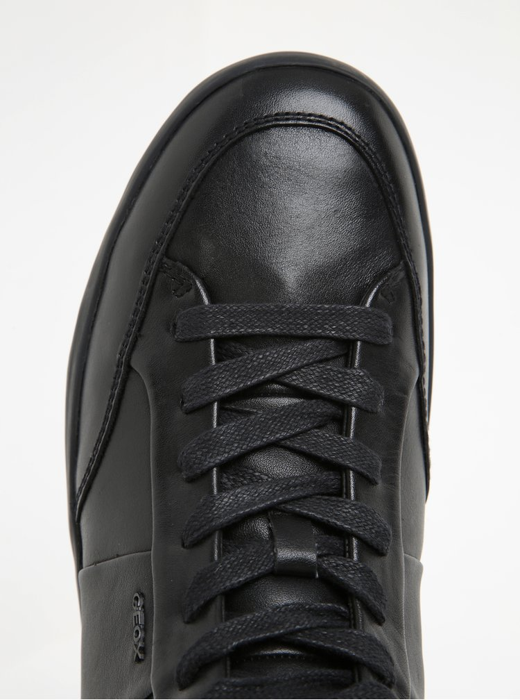 Černé pánské kožené kotníkové tenisky Geox Smart D