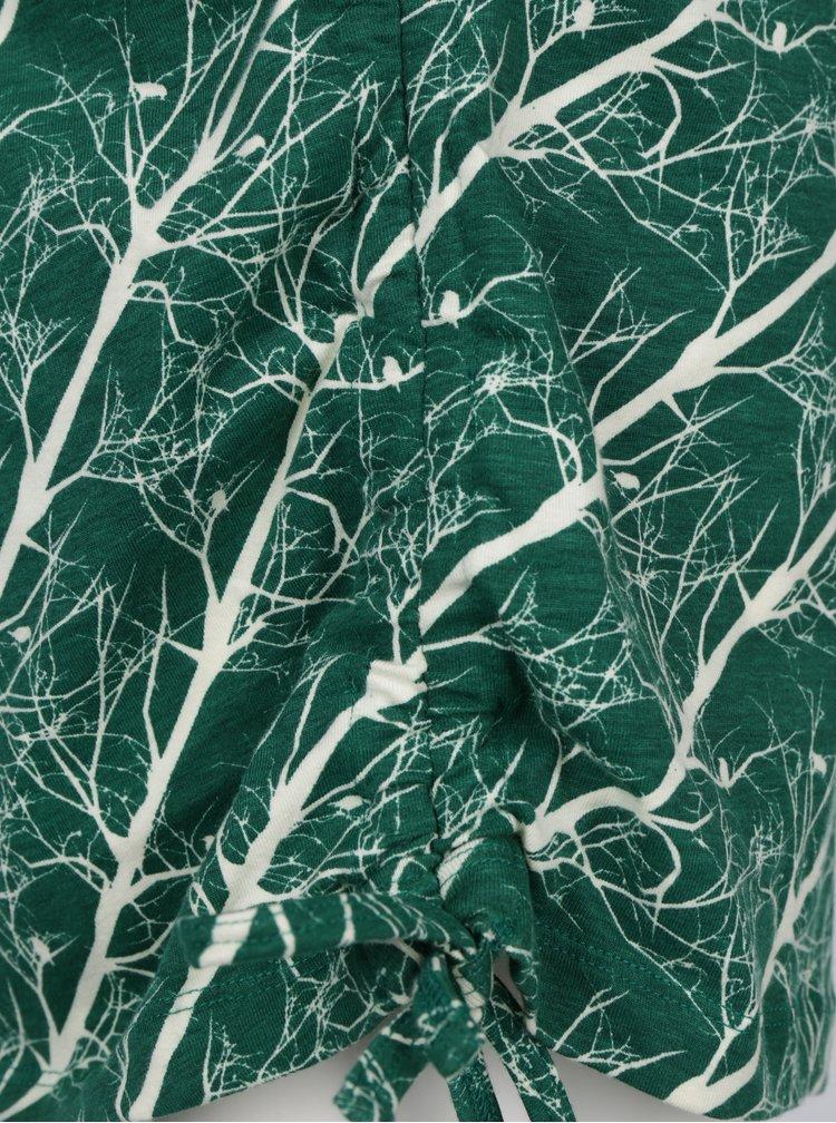 Krémovo-zelené vzorované šaty se zavazováním na boku Tranquillo Mauji