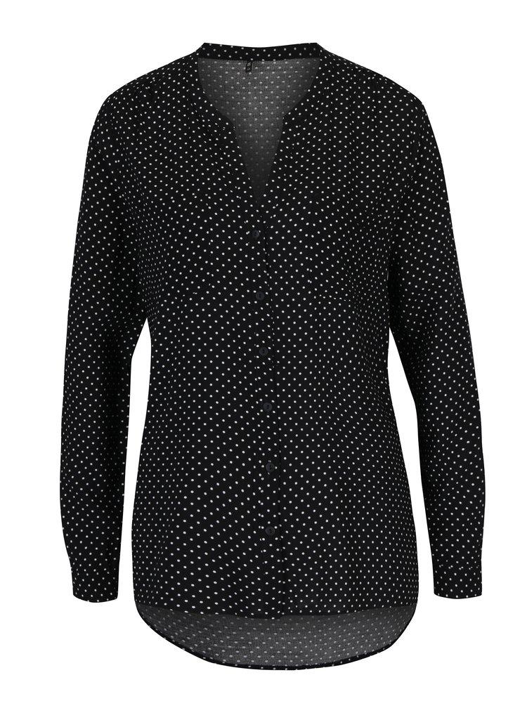 Bluza asimetrica neagra cu buline crem -  ONLY First