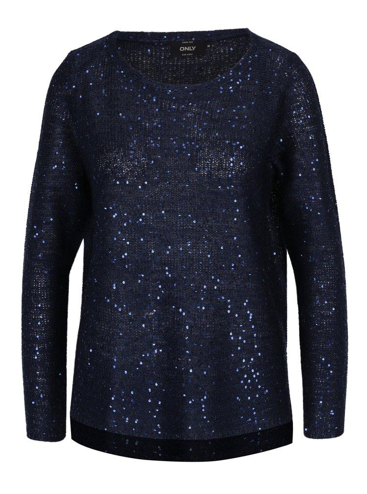 Tmavě modrý pletený svetr s flitry ONLY Adele
