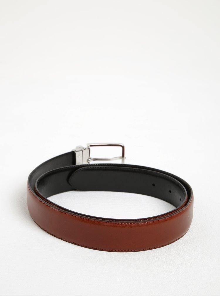 Hnědý pánský kožený pásek se sponou GANT