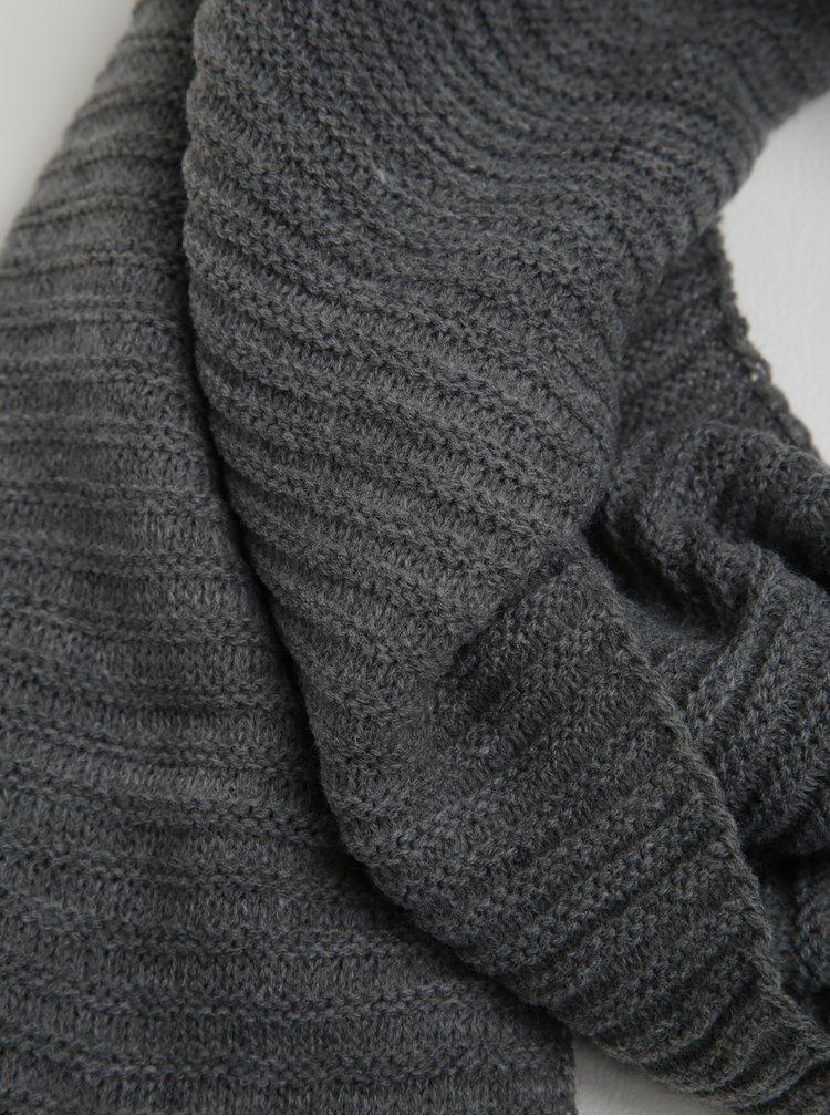 Eșarfă tricotată gri închis - Pieces June