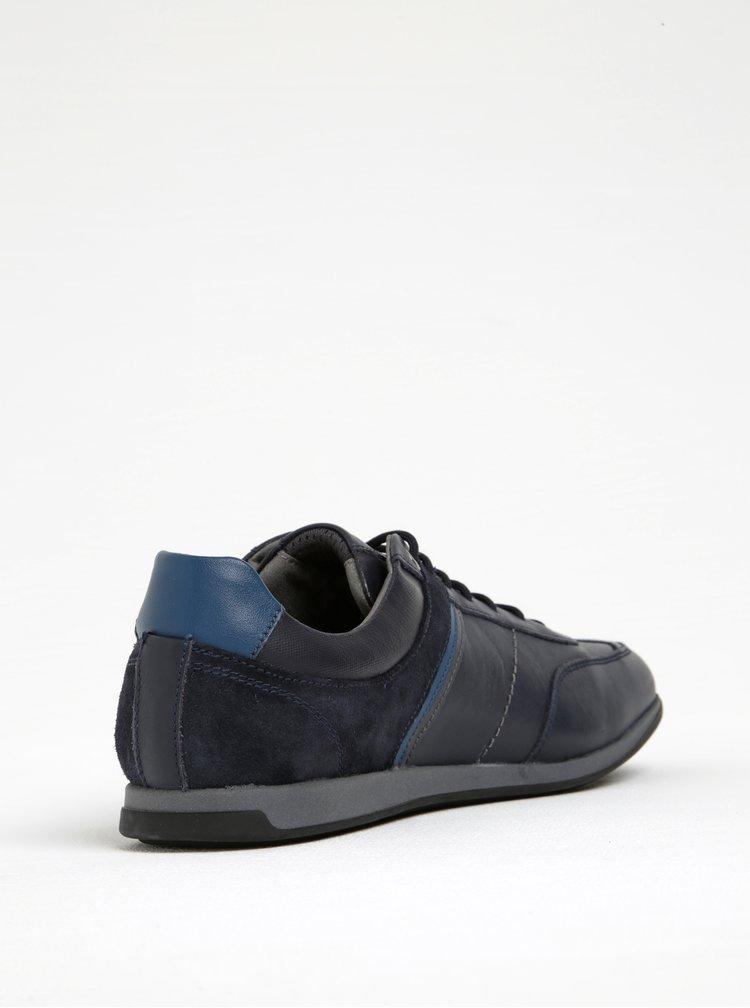 Tmavě modré pánské kožené tenisky se semišovými detaily Geox Clement B