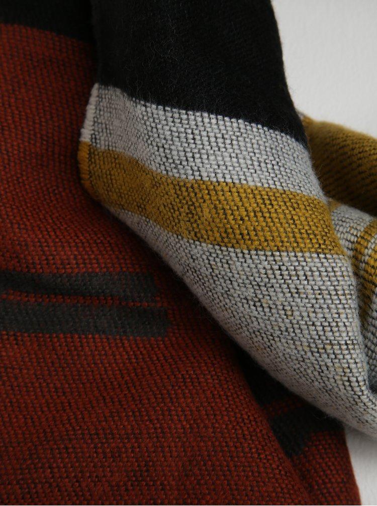Šedo-žlutá vzorovaná šála s třásněmi Pieces Jade