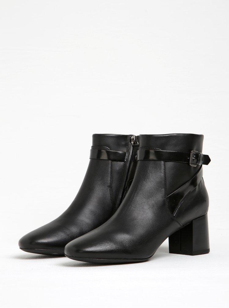 Černé dámské kožené kotníkové boty na podpatku Geox Audalies