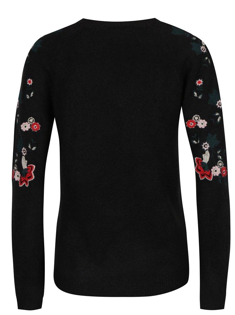Pulover negru cu broderie florala VILA Estoni