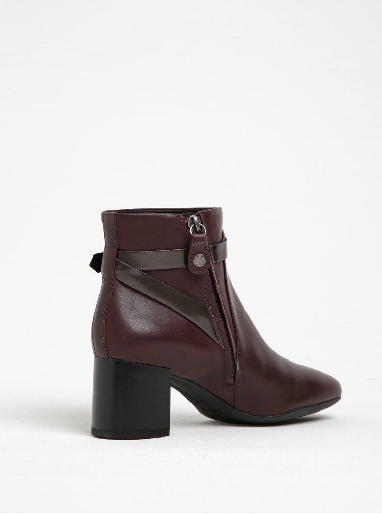 Vínové dámské kožené kotníkové boty na podpatku Geox Audalies
