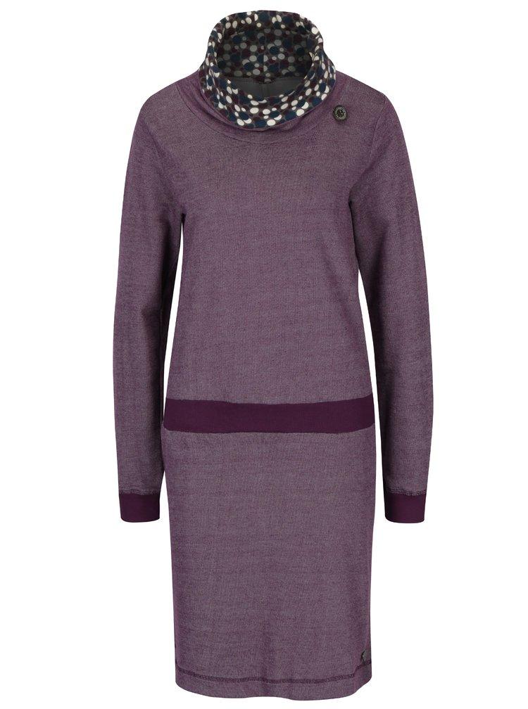 Fialové žíhané mikinové šaty s vysokým límcem Tranquillo Macarena