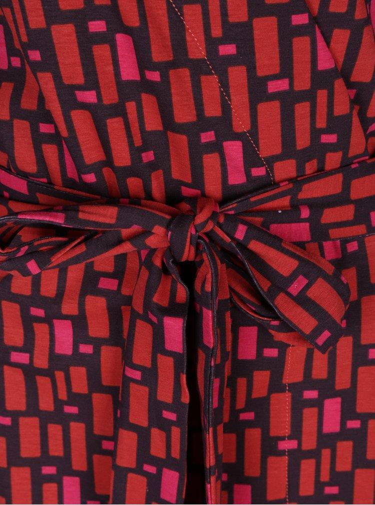 Cihlové vzorované zavinovací šaty se zavazováním Tranquillo Katia