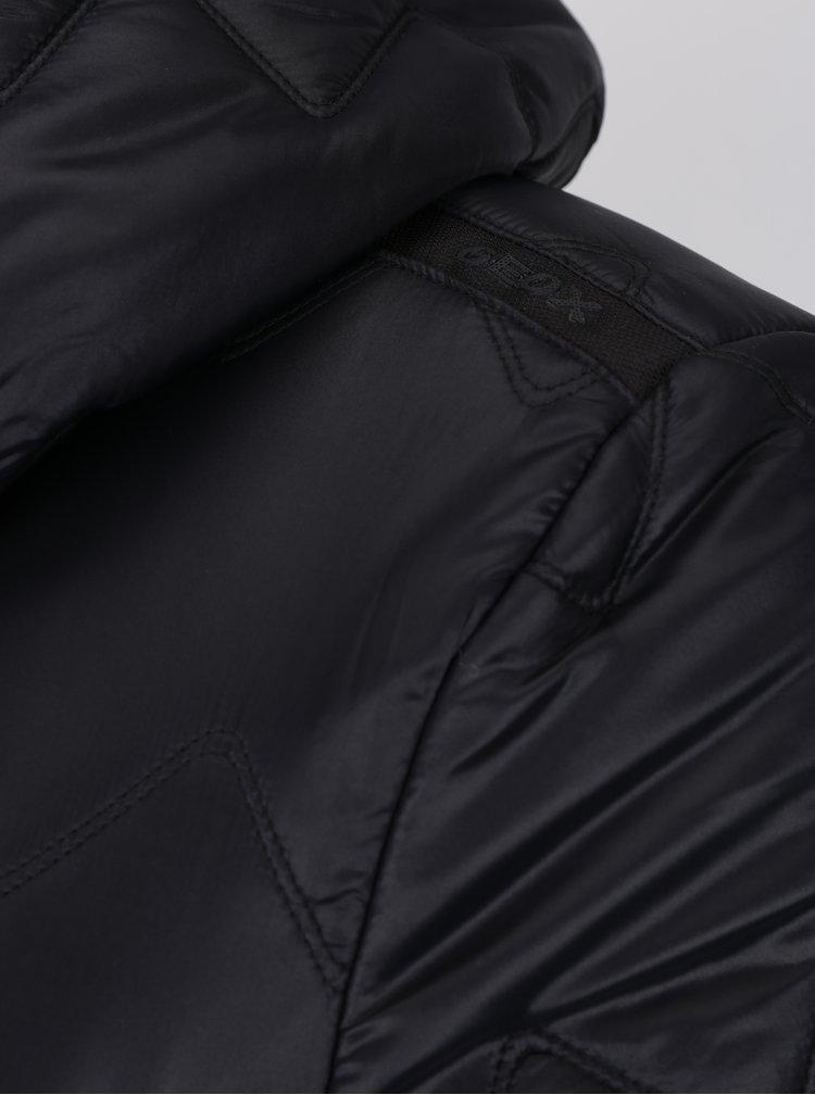 Geaca neagra matlasata cu cusaturi in relief pentru femei Geox