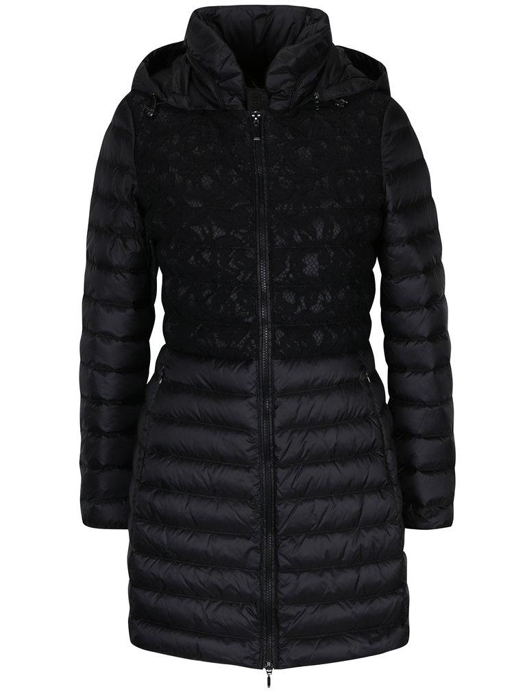 Černý dámský prošívaný funkční péřový kabát s kapucí a krajkovými detaily Geox