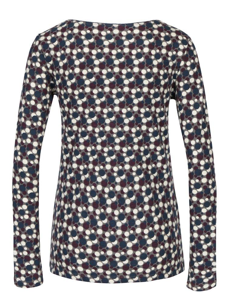 Krémovo-šedé puntíkované tričko s dlouhým rukávem Tranquillo Adora