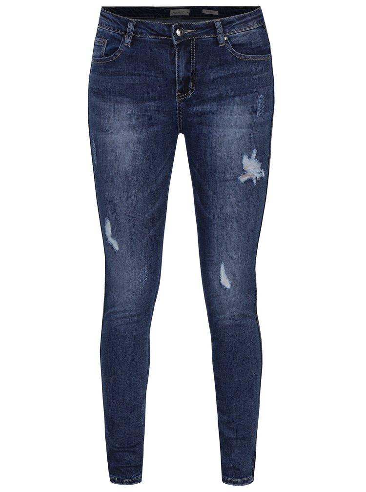 Modré regular džíny s potrhaným efektem Haily´s Ava