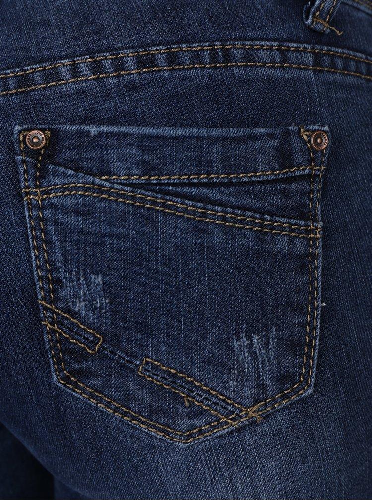 Blugi regular albastri cu talie medie si aspect prespalat - Haily´s Dory