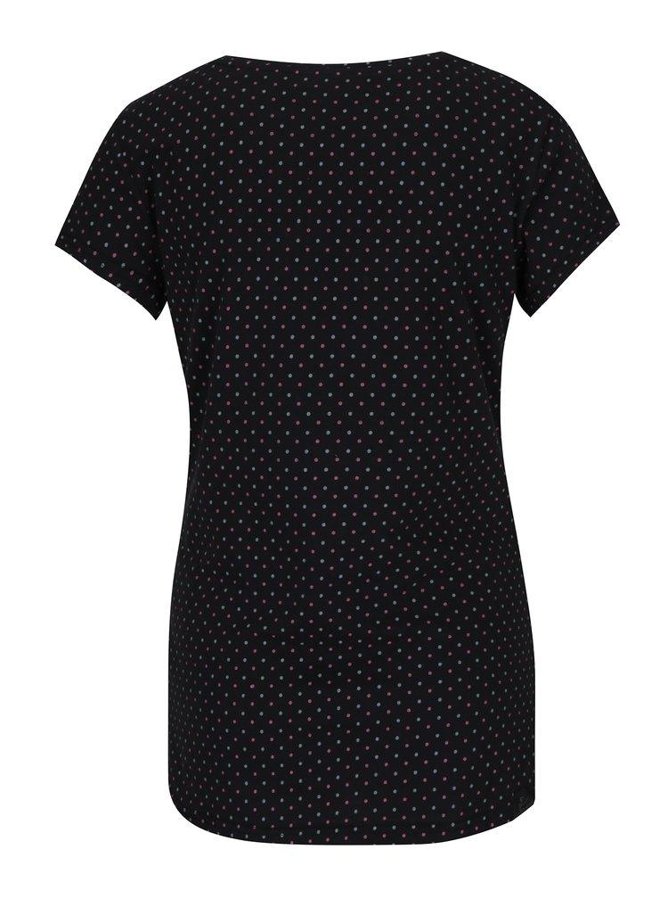 Tricou negru cu  print Ragwear Mint Dots