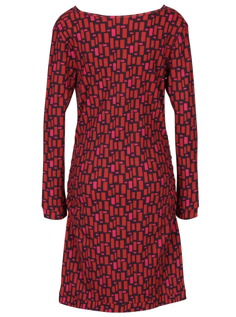 Cihlové vzorované šaty s řasením v dekoltu a dlouhým rukávem Tranquillo Ece