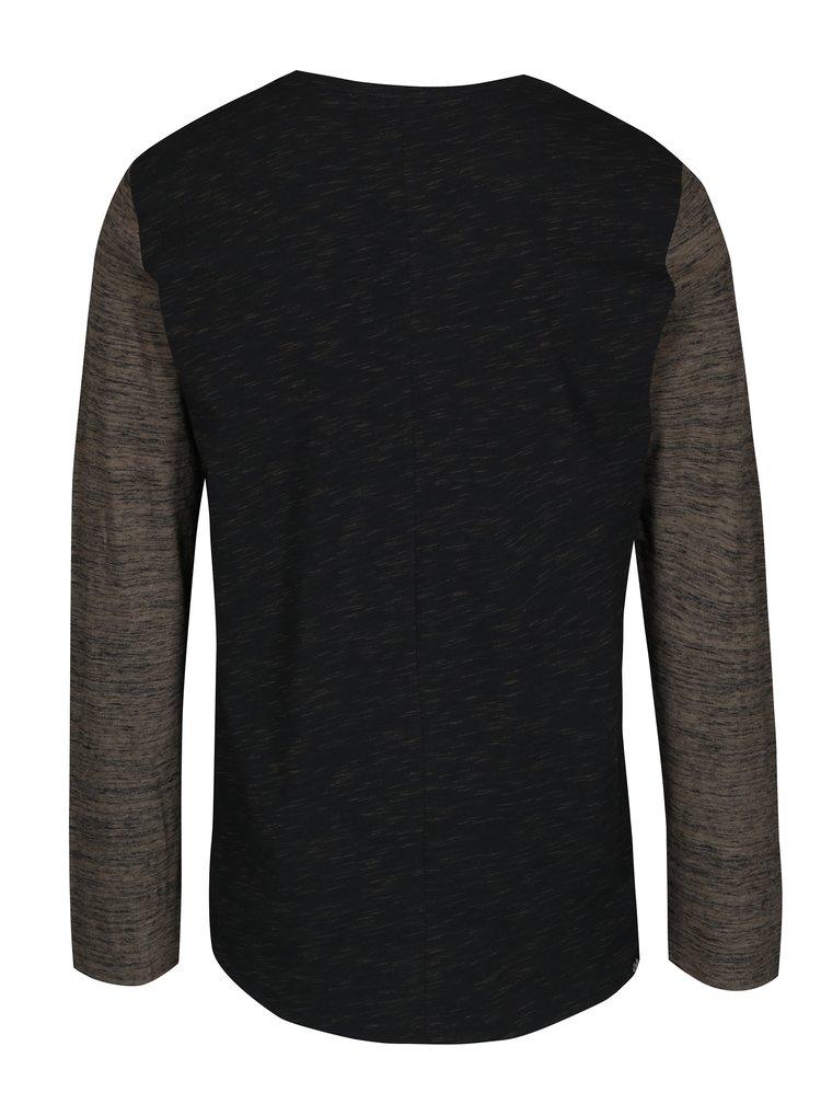 Zeleno-černé pánské žíhané tričko s dlouhým rukávem Ragwear Tibor