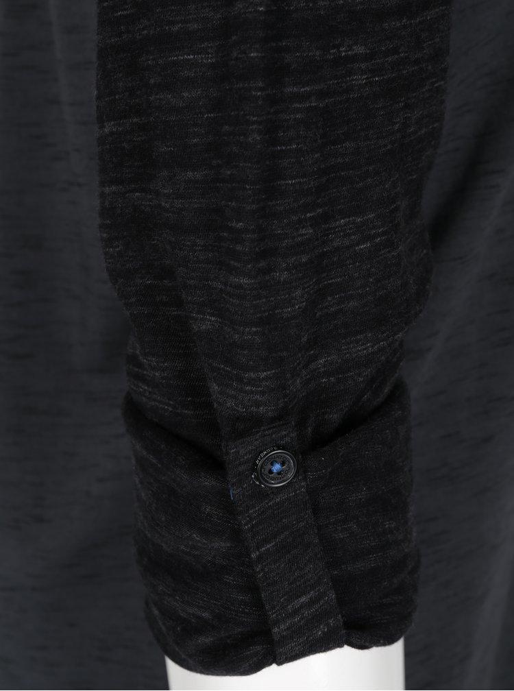 Černo-šedé pánské žíhaní tričko s dlouhým rukávem Ragwear Tibor