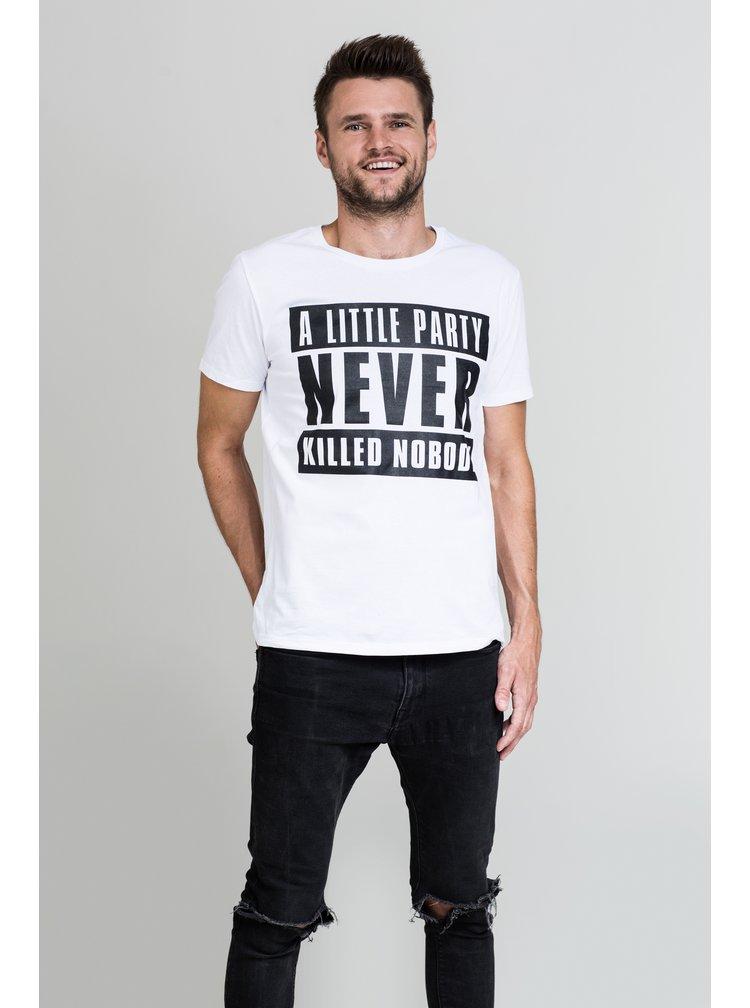 Bílé pánské tričko s černým potiskem E2