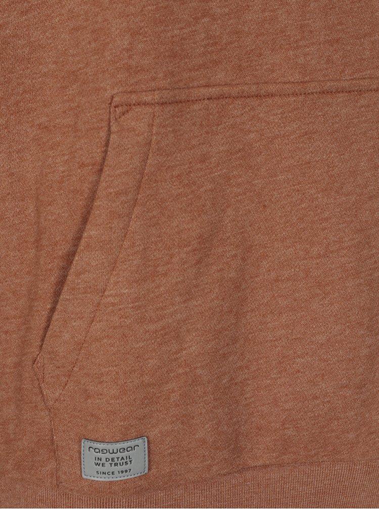 Svetlohnedá pánska melírovaná mikina s vysokým golierom Ragwear Indiana