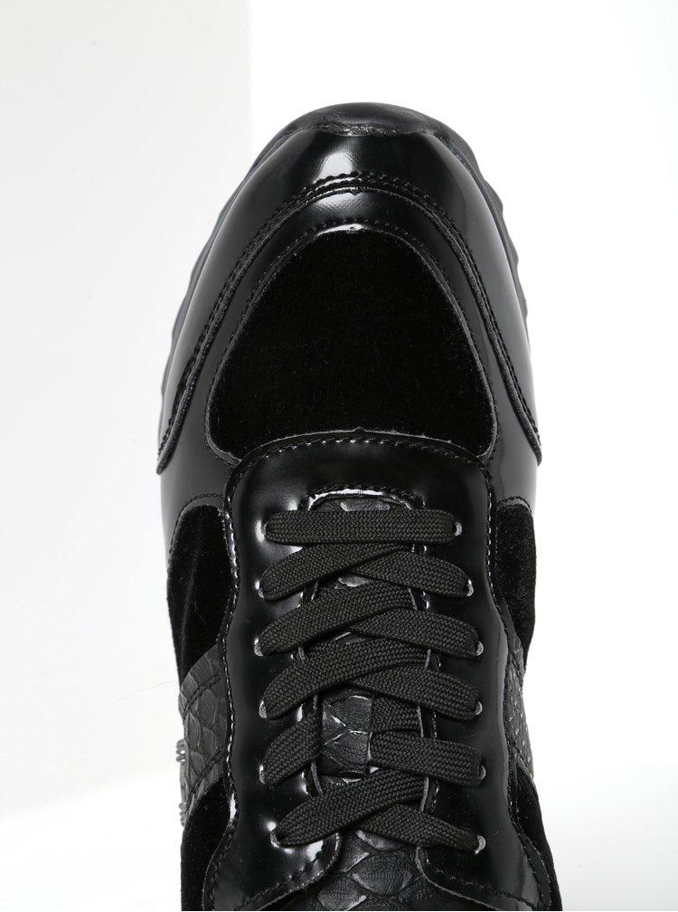 Černé tenisky se sametovými a lesklými detaily bugatti Farah