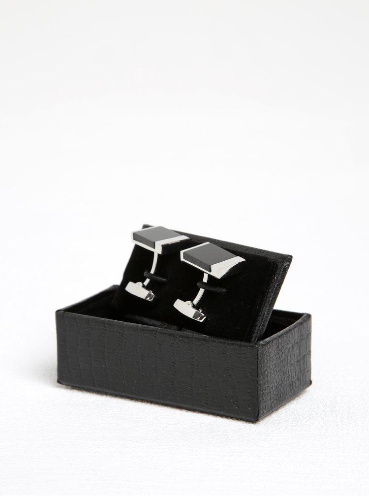 Manžetové knoflíčky v černo-stříbrné barvě Dice