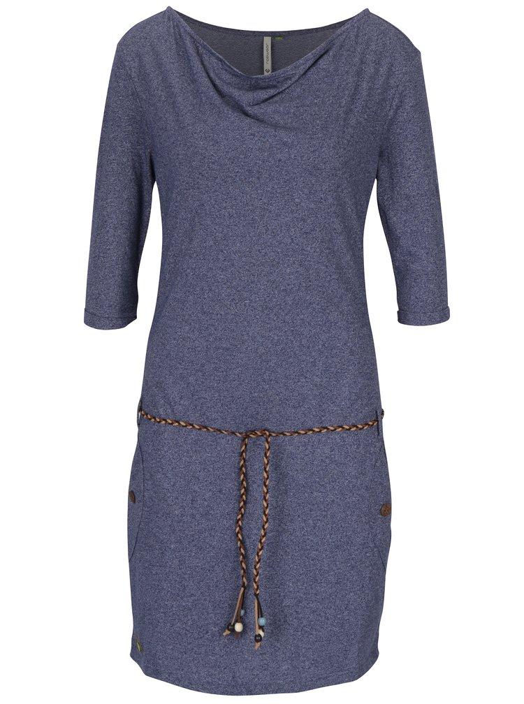 Rochie albastra cu maneci 3/4 si cordon in talie Ragwear Tanya Mel Organic