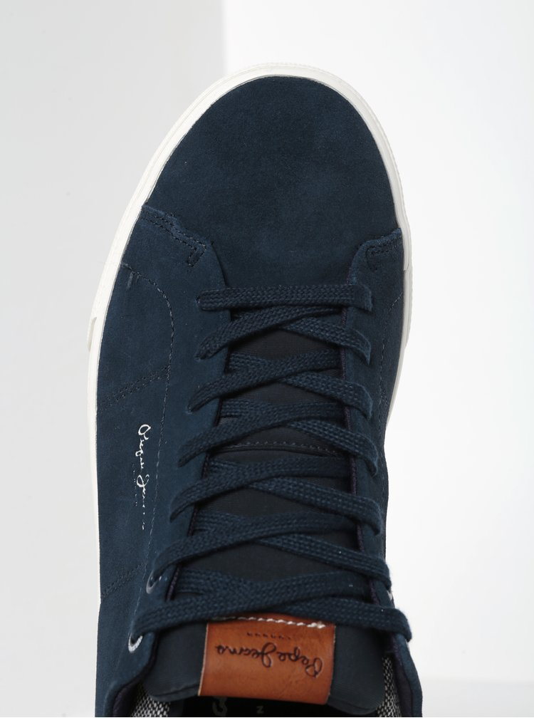 Pantofi sport bleumarin din piele intoarsa Pepe Jeans Marton Tweed