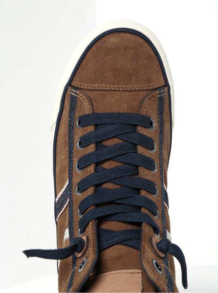 Hnědé pánské semišové kotníkové tenisky Pepe Jeans Serthi