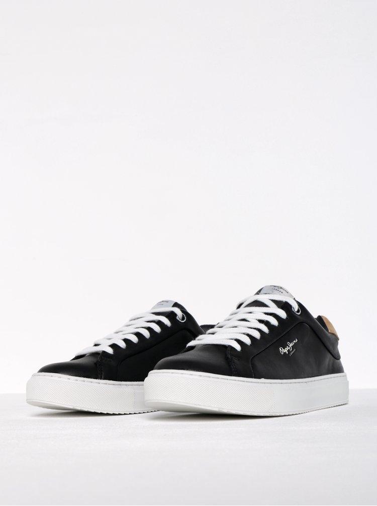 Pantofi sport negri din piele pentru femei Pepe Jeans Adams Dasic
