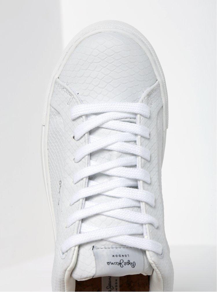 Pantofi sport albi cu aspect de piele de reptila Pepe Jeans Adams Samy