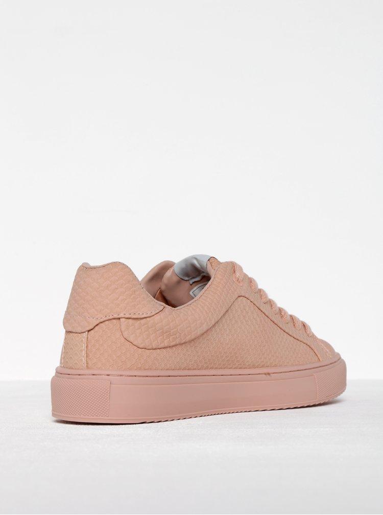 Pantofi sport roz prafuit cu aspect de piele de reptila Pepe Jeans Adams Samy