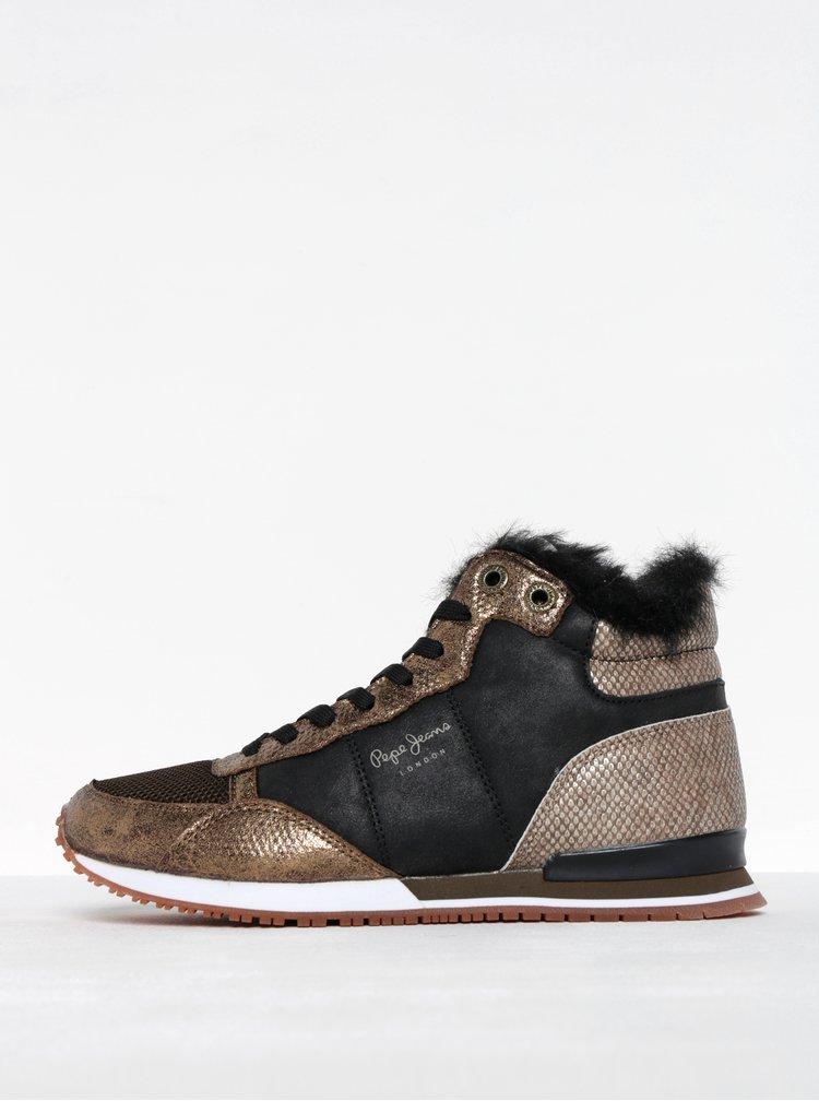 Pantofi sport tip gheata negru cu auriu Pepe Jeans Gable Fur