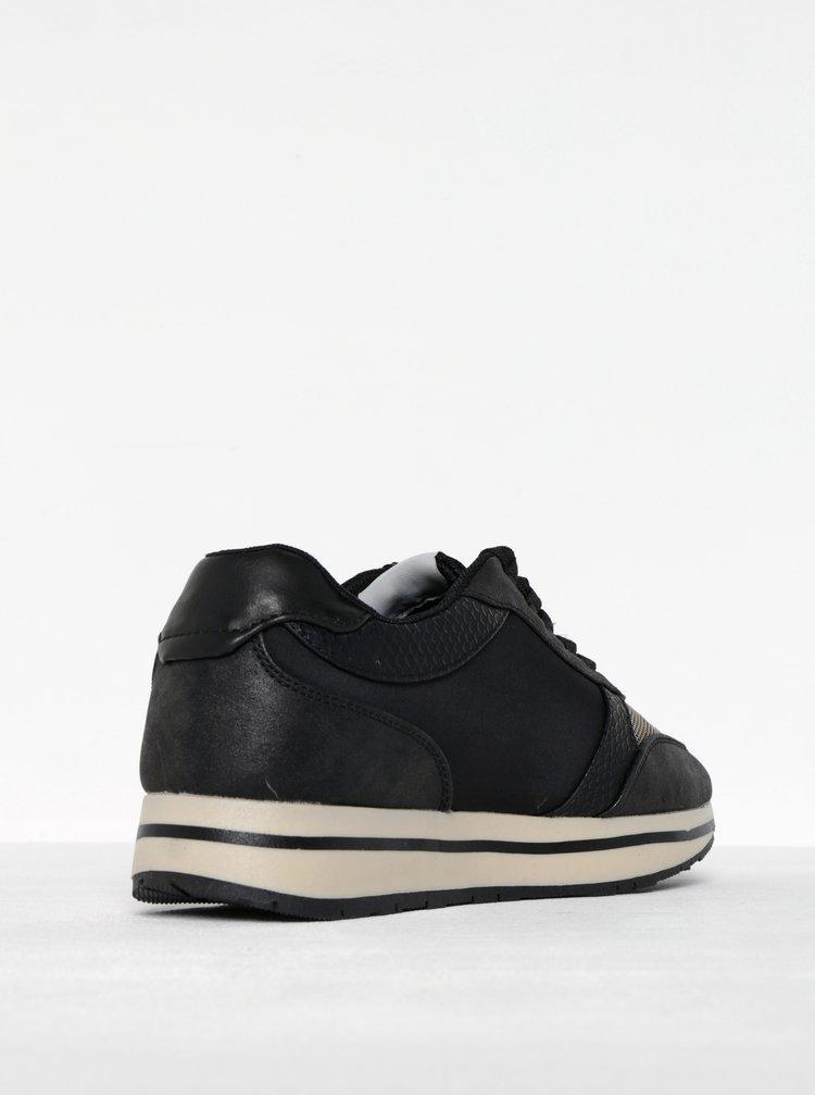 Pantofi sport negru cu crem cu platforma pentru femei  Pepe Jeans Sally Sky