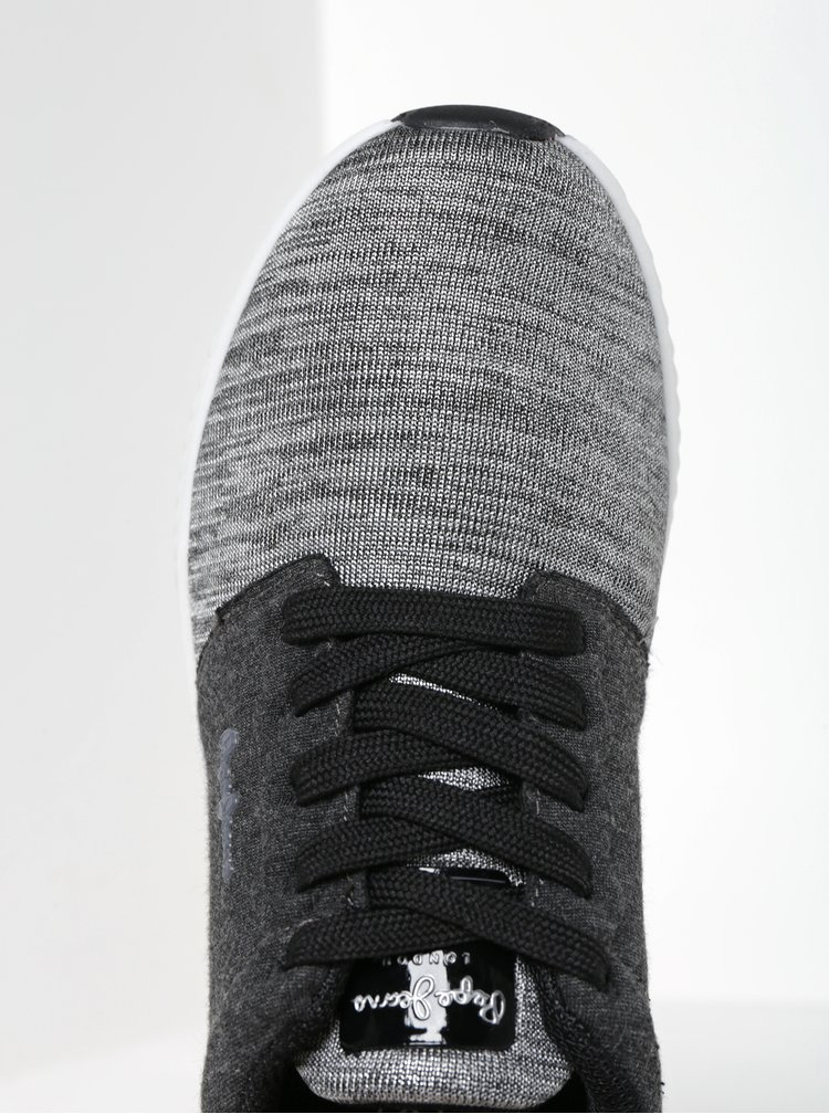 Šedé dámské tenisky se špičkou ve stříbrné barvě Pepe Jeans Sutton Laces