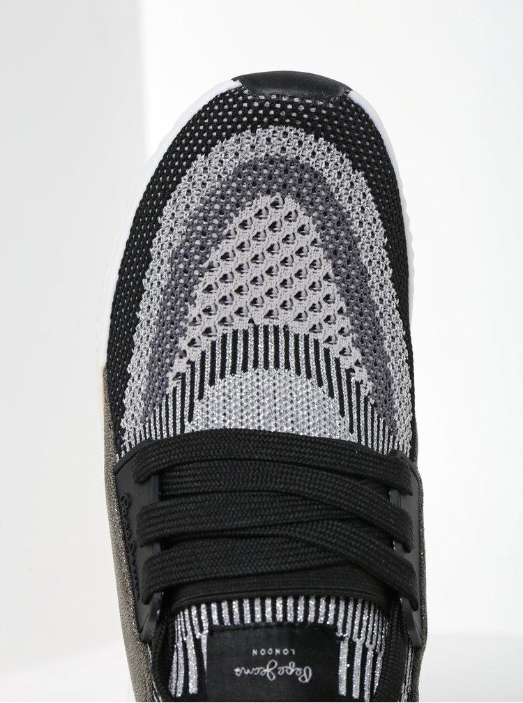 Pantofi sport negru cu argintiu pentru femei Pepe Jeans Sutton Netbass